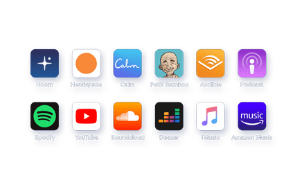 HoomBand works like headphones and can be used with all your apps (Youtube, Spotify, Headspace, Calm, etc.) perfect for airplane, train, yoga, meditation, etc.