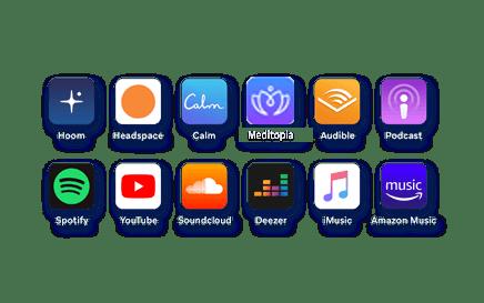 HoomBand fonctionne comme des écouteurs sans fil et peut-être utilisé avec toutes vos applications (Youtube, Spotify, Deezer, Petit Bambou, etc.) parfait pour l'avion, le train, le yoga, la méditation, etc…).